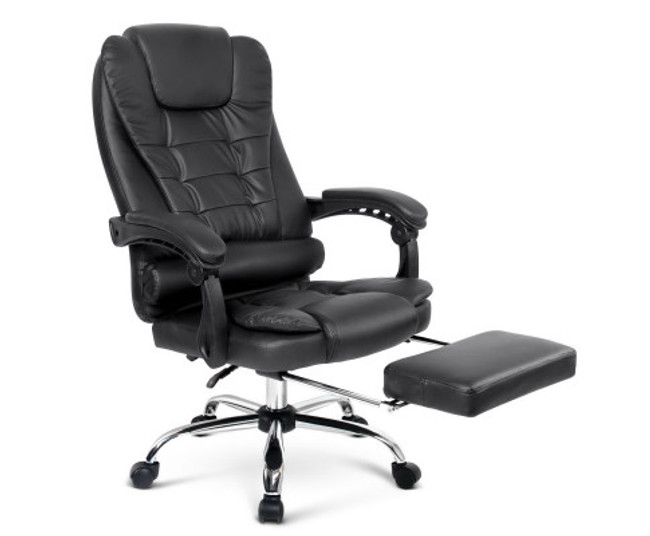 Black PU Leather Reclining Office Chair with Footrest