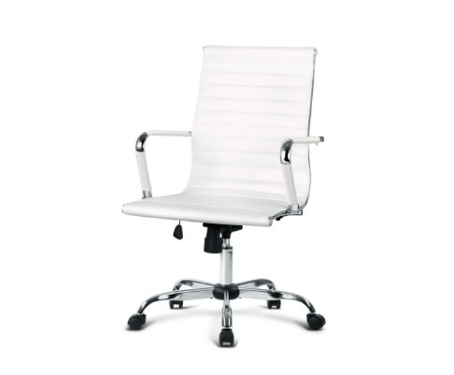 Eames White PU Leather Replica Office Chair - Mid Back