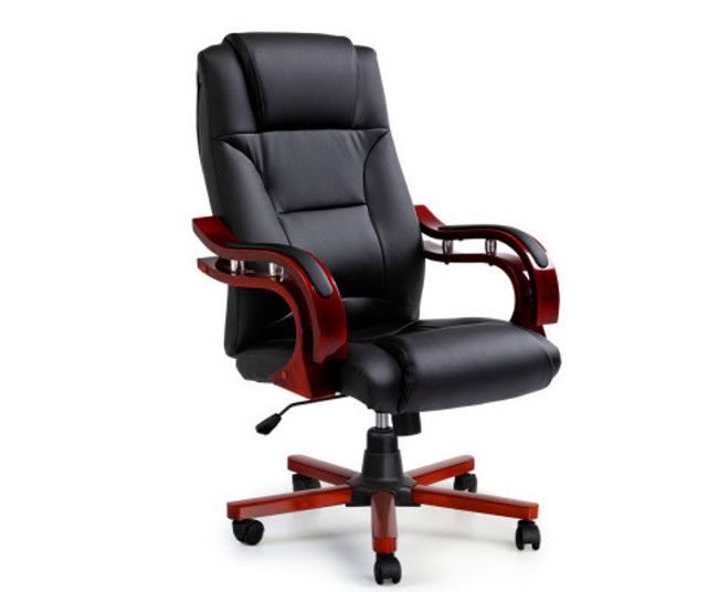 Artiss Red & Black Leather Wooden Arm Rest Office Chair