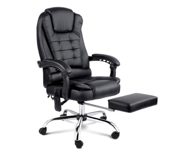 8 Point Executive Reclining Message Chair - Black