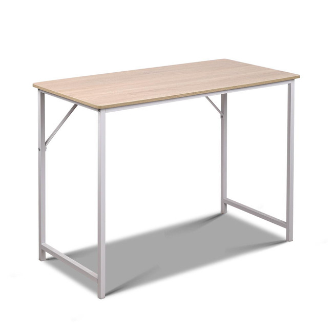 Artiss Minimalist Metal Desk - White with Oak Top
