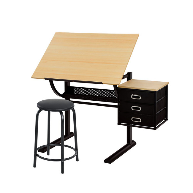 Artiss Art Craft Student Drawing Desk / Tilt Drafting Table & Stool - Natural Oak and Black