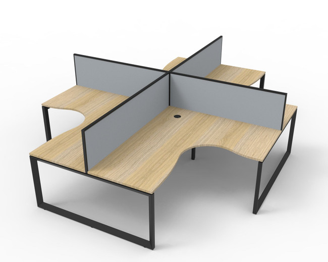Deluxe Quick Infinity 4 Person Corner Office Workstation POD With Screens - Loop Leg