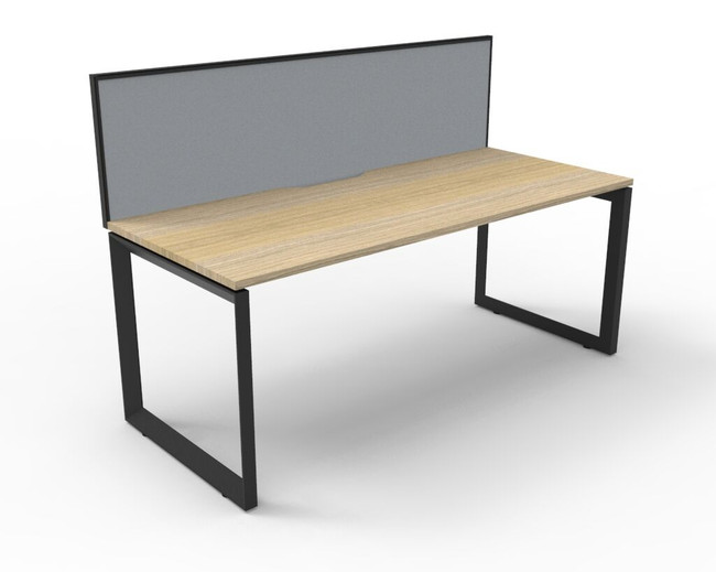 Deluxe Quick Infinity 1 Person Single Sided Desks with Screen - Loop Leg