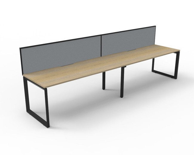 Deluxe Quick Infinity 2 Person Single Sided Desks with Screen - Loop Leg