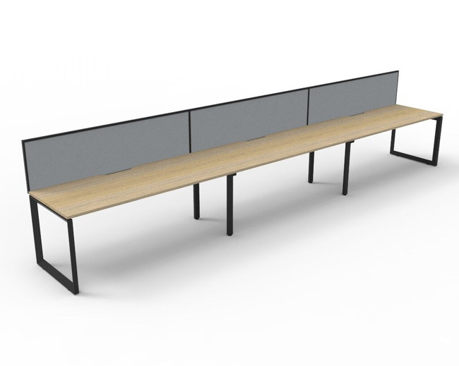 Deluxe Quick Infinity 3 Person Single Sided Desks with Screen - Loop Leg