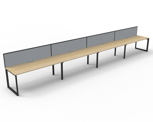 Deluxe Quick Infinity 4 Person Single Sided Desks with Screen - Loop Leg