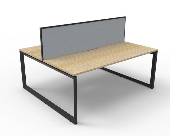 Deluxe Quick Infinity 2 Person Double Sided Desks with Screen - Loop Leg