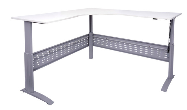 Quick Span Electric Sit To Stand Height Adjustable Corner Workstation