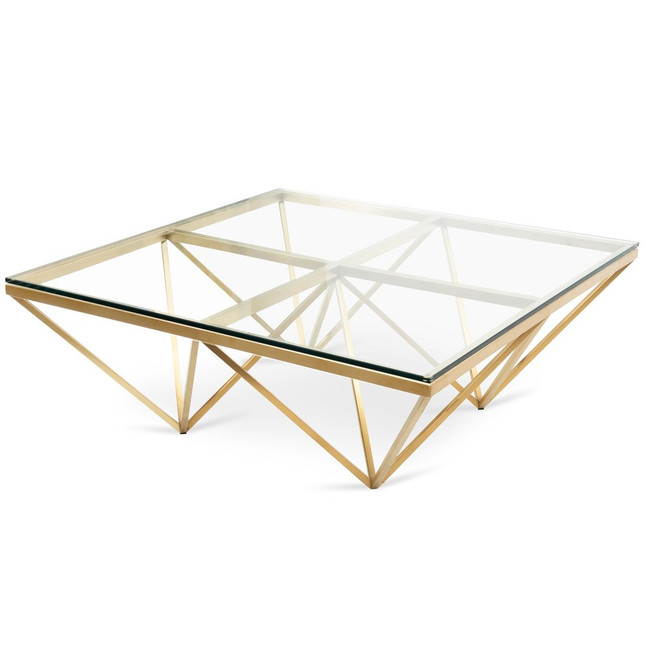 Amelia 1.05m Glass Coffee Table - Brushed Gold Base