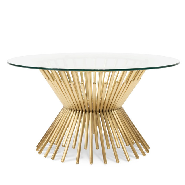Mia Glass Coffee Table - Brushed Gold Base