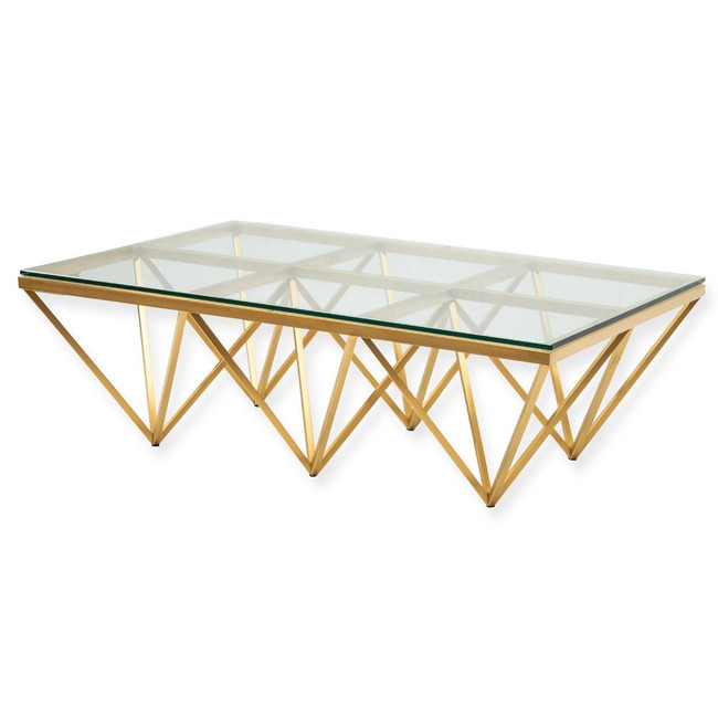 Amelia Coffee Table - Glass Top - Brushed Gold Base