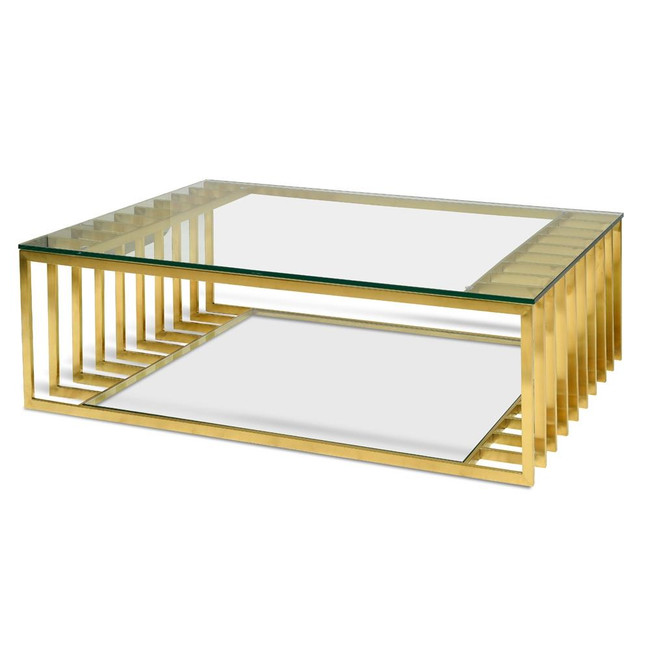 Evie Glass Coffee Table - Gold Base