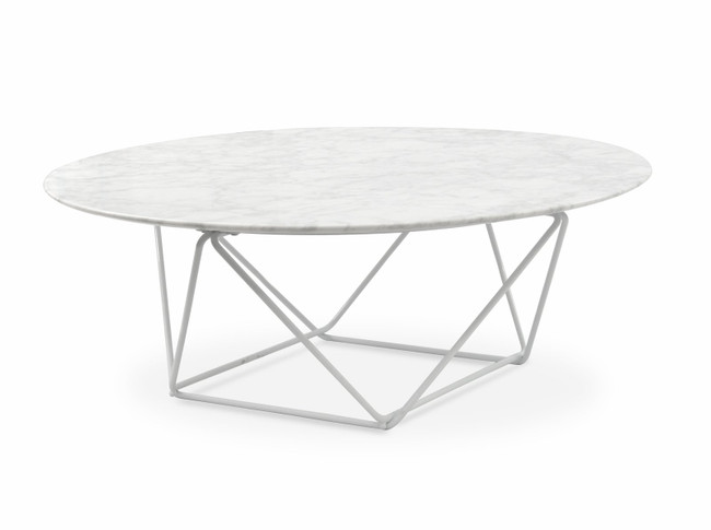 Sophie Round Marble Coffee Table - White Base