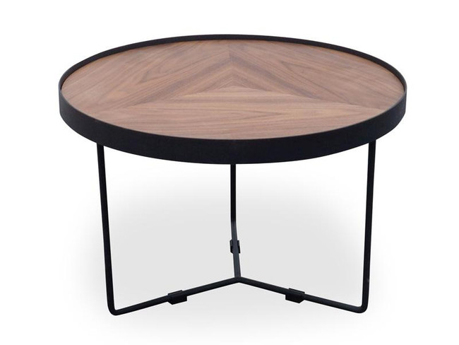 Emily Round Coffee Table - Walnut Top - Black Frame
