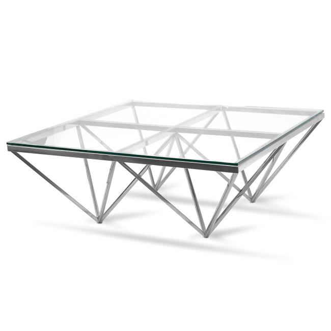 Amelia Glass Top Coffee Table - Silver Base