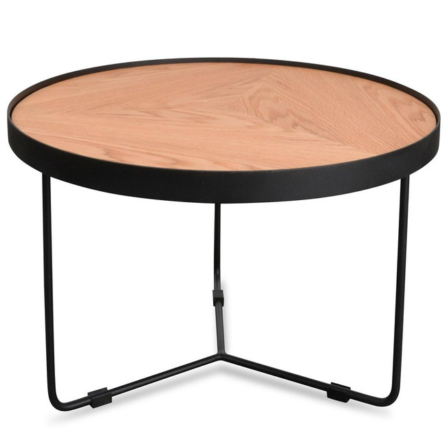 Emily Round Coffee Table - Natural Top - Black Frame