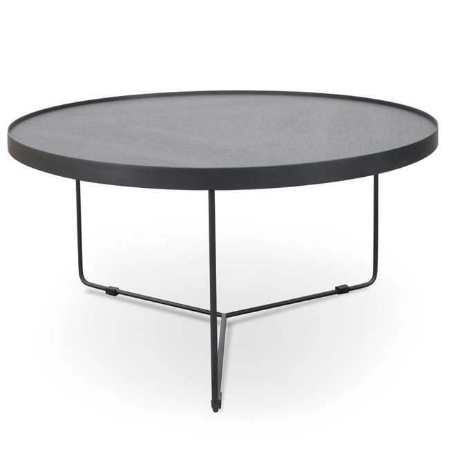 Emily Round Coffee Table - Black Oak Top - Black Frame