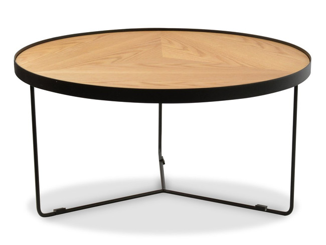 Emily Round Coffee Table - Natural Top - Frame Black