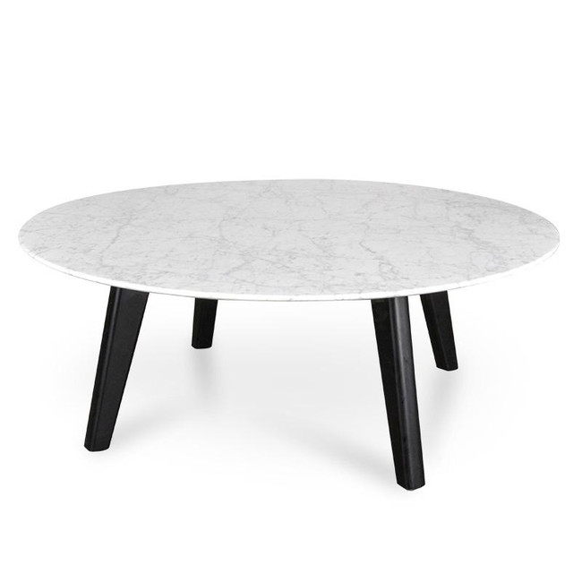 Sophie Marble Coffee Table with Black Legs