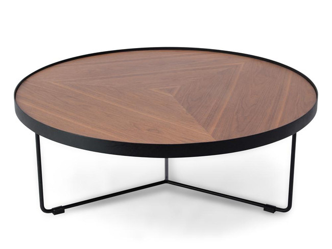Emily Round Walnut Coffee Table - Black Frame
