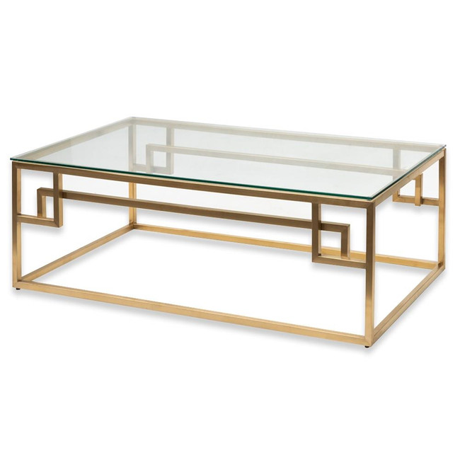 Lucy Coffee Table - Glass Top - Brushed Gold Base