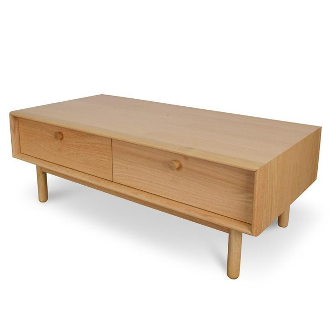 Willow Rectangle Coffee Table With Drawers - Natural