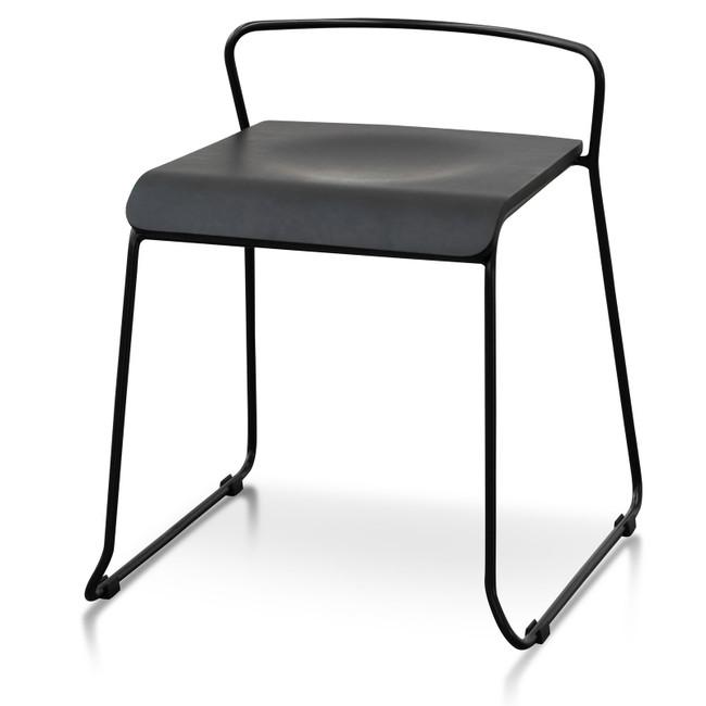 Aria Black Wooden Seat Stool - 45cm Seat Height