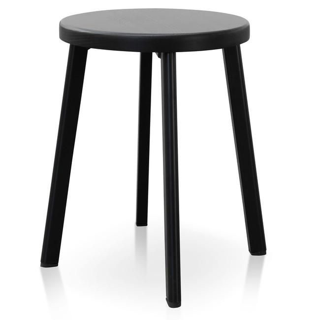 Hannah Wooden Seat Low Stool - Full Black