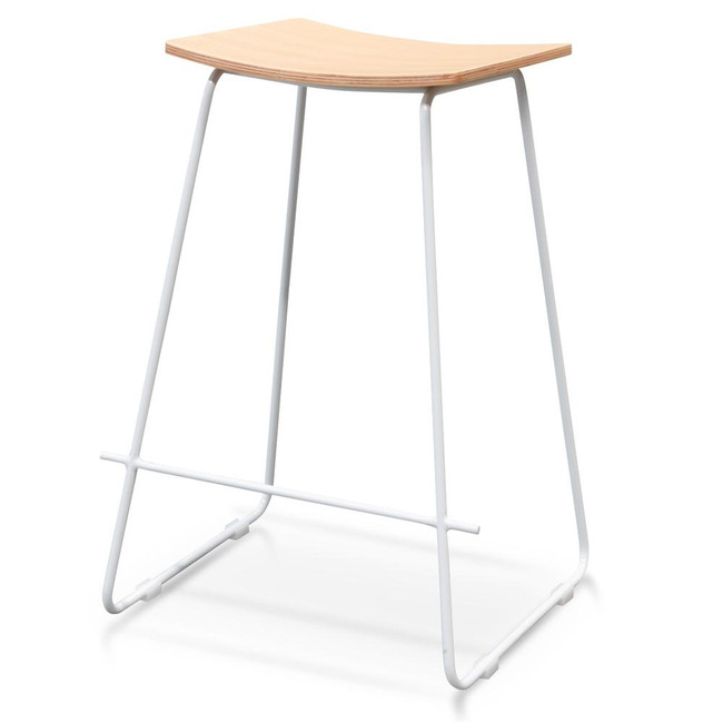 Mila Bar Stool With Natural Timber Seat - White Frame