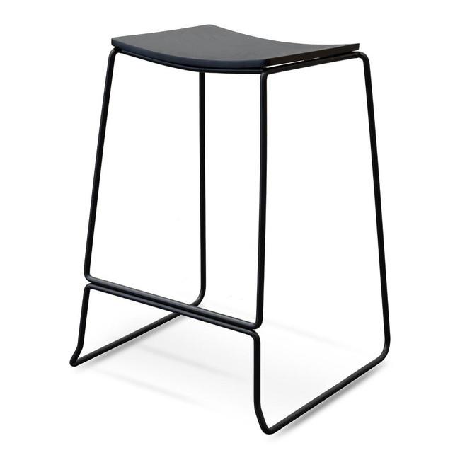 Jasmine Black Timber Seat Bar Stool - Black Frame