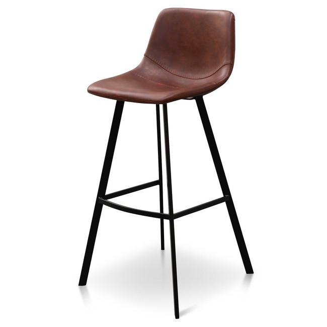 Maddison Bar Stool - Cinnamon Brown PU Leather (Set of 2)