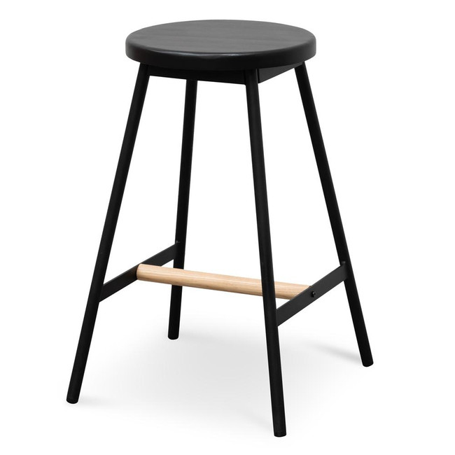 Abigail Black Timber Seat Bar Stool - Black Frame
