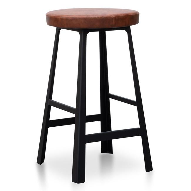 Abigail Bar Stool in Rustic Brown - Black Legs