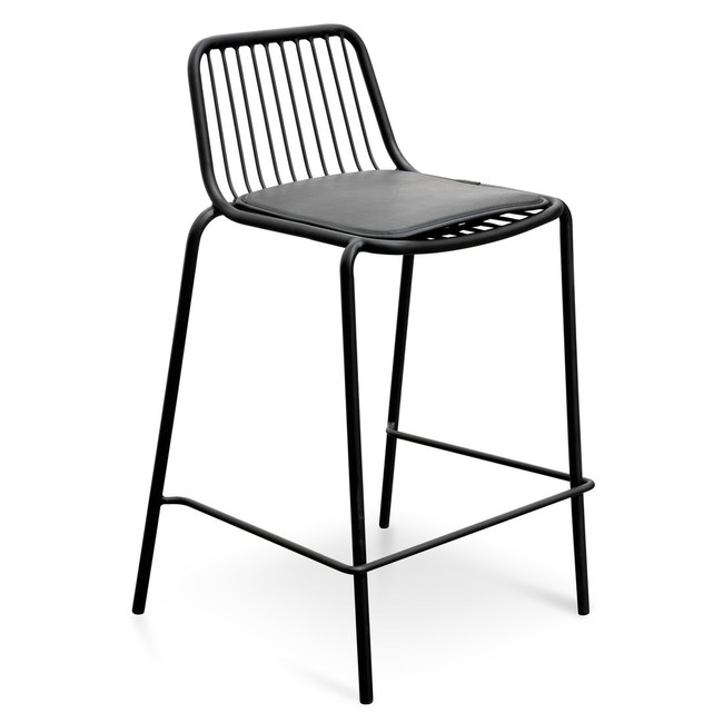 Maya Bar Stool With Black PU Pad - Black Base