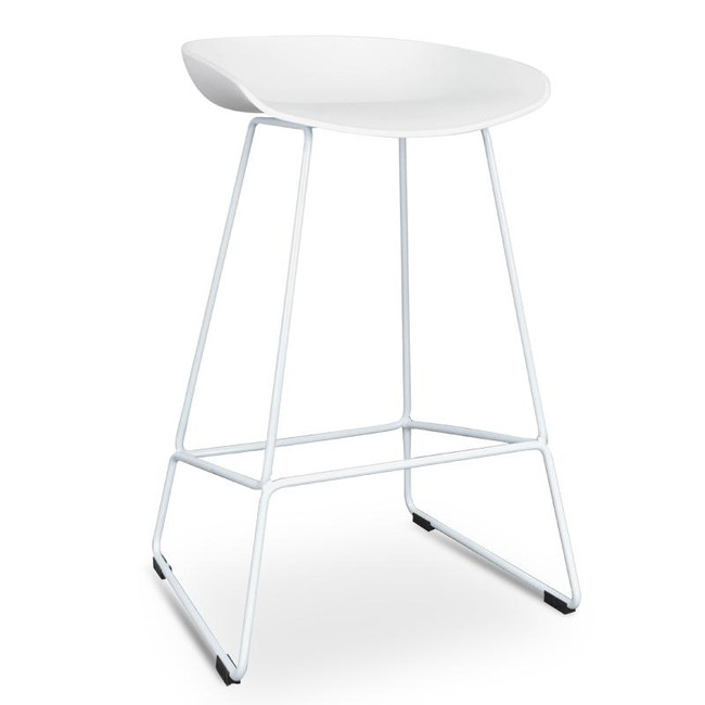 Holly Bar Stool - White Seat With White Metal Frame