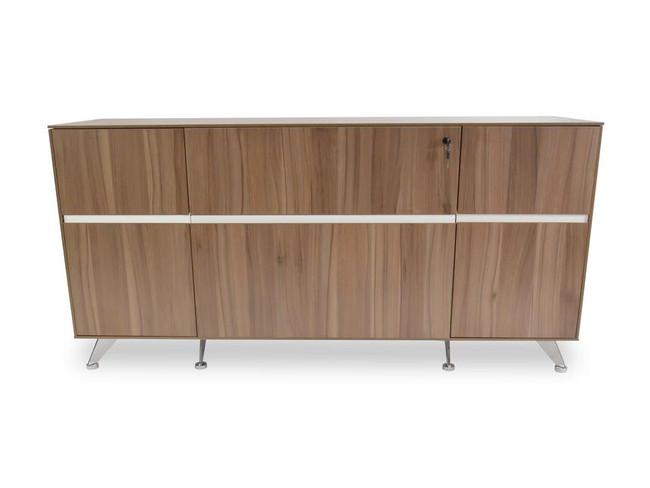 Penola 2 Drawer Filing Cabinet with Cupboard - Walnut