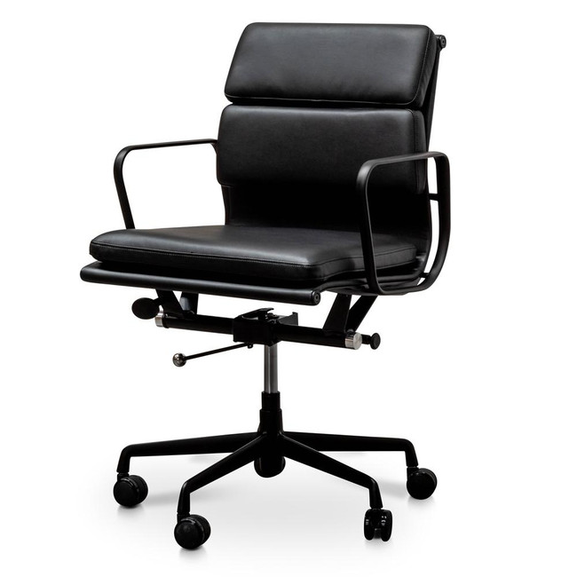 Eliza Pad Management PU Leather Boardroom Chair in Black - Black Frame