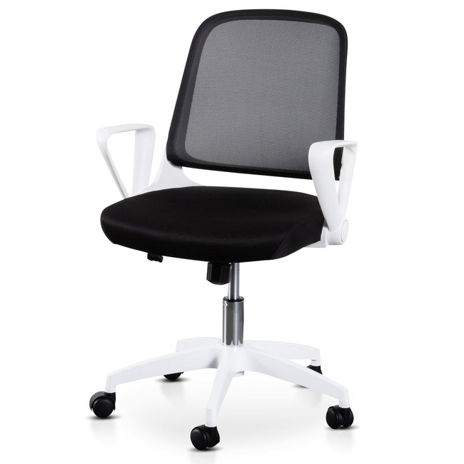 Eleanor Black Office Chair - White Arm and Base
