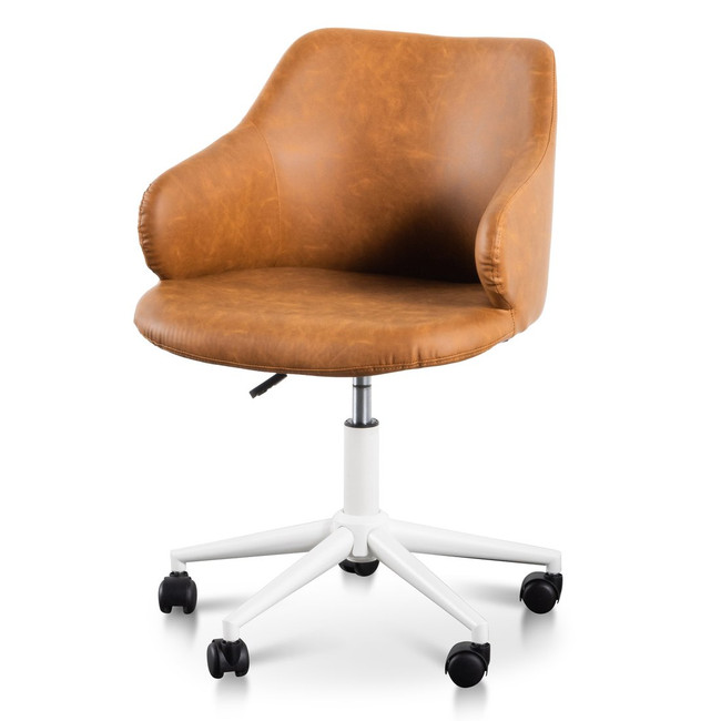 Penelope Office Chair - Tan with White Base