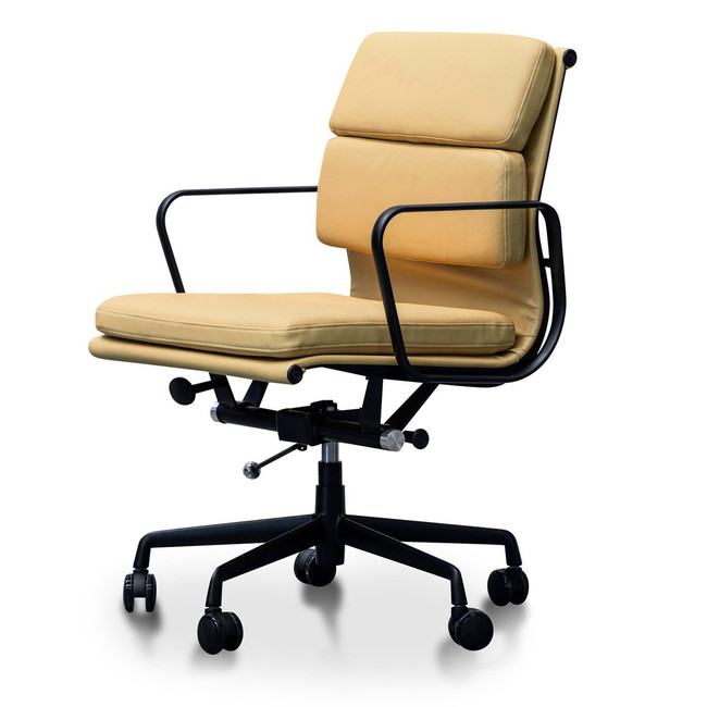 Echuca Soft Pad Management Leather Boardroom Office Chair in Light Brown - Black Frame