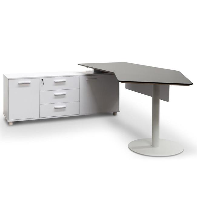 Alpha Executive Office Desk Left Return - Black