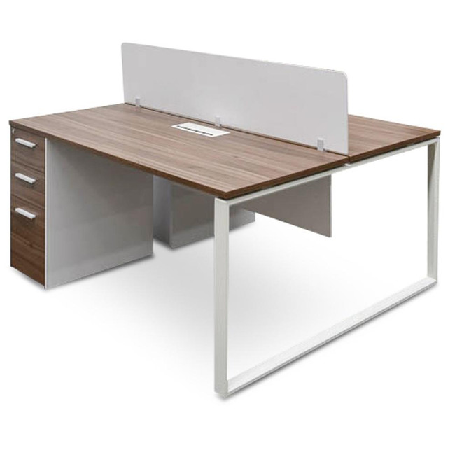 Capel 2 Seater 160cm Walnut Office Desk With Privacy Screen