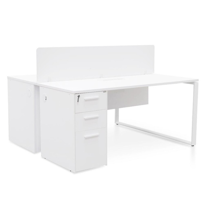 Hay 2 Seater Office Desk With Privacy Screen - White - Upgraded Legs