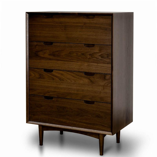 Elsie 4 Drawer Chest Scandinavian Design - Walnut