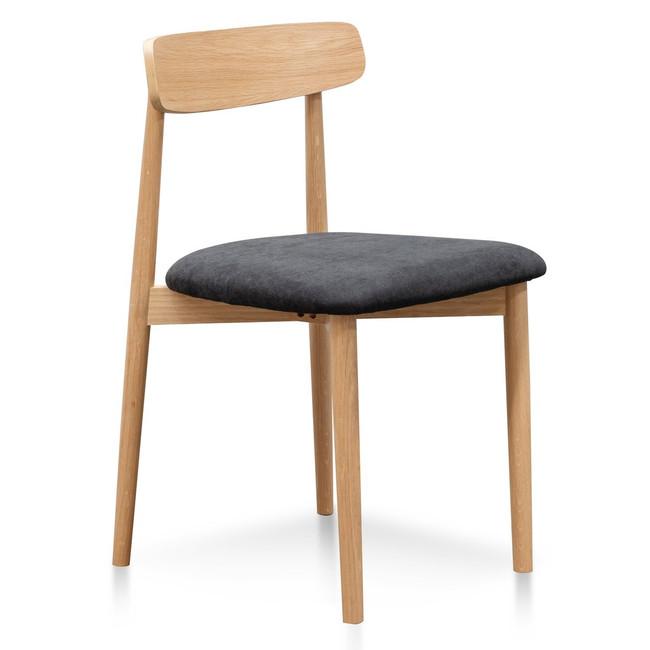 Kulin Black Fabric Dining Chair - Natural legs