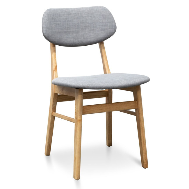 Hobart Fabric Dining Chair - Grey - Natural
