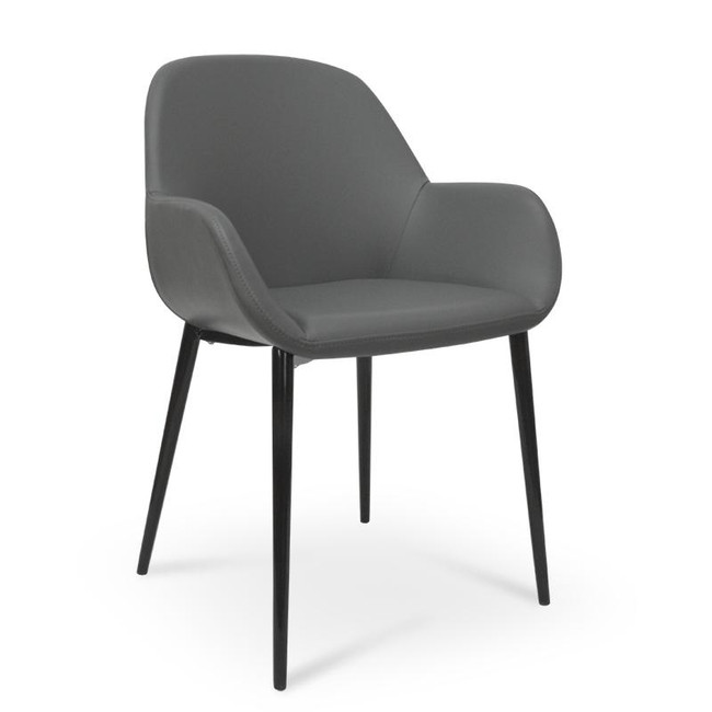 Leeton Dining Chair in Charcoal Grey With Black Legs
