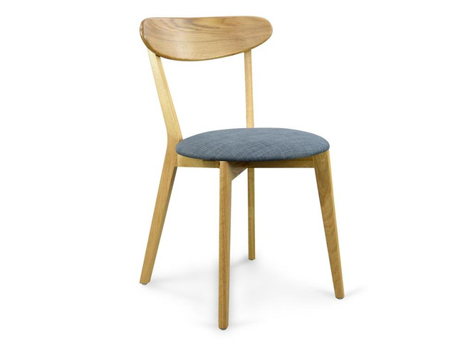 Moree Dining Chair Solid Natural Oak – Grey Fabric Seat