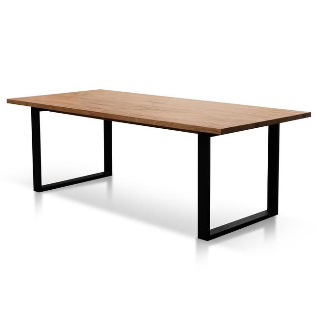 Poatina Straight Top Dining Table - Rustic Oak Veneer